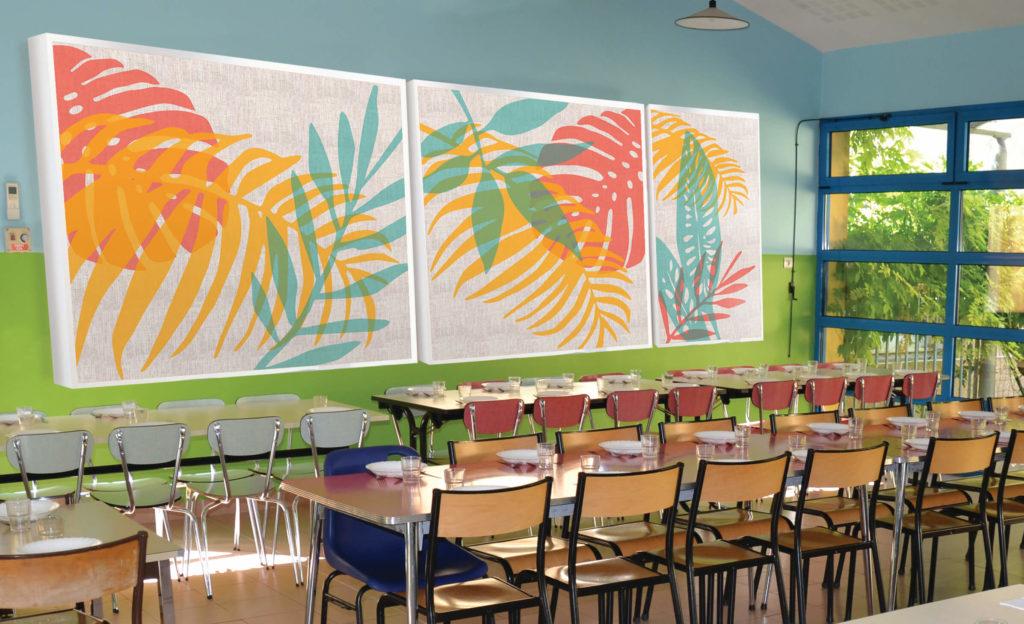 tableau acoustique dans un restaurant scolaire